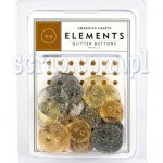 guziki American Crafts Glitter Buttons Metallic
