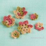 kwiatki szydełkowe - 6 sztuk kolor arbuz