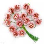różyczki papierowe 16 szt. różowe z drucikiem