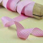 szeroka wstążeczka w kratkę różowo-białą - 1mb