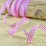 wstążeczka w kratkę różowo-białą - 1mb