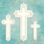 ozdobne krzyże z tekturki 7 szt. z ramkami