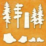 zestaw tekturek Kolekcja Wędrówka las buty szlak