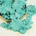 kwiatki papierowe miks - zestaw Turkusowy
