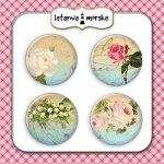 plakietki ozdobne flair buttons- kwiaty vintage #1