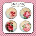 plakietki ozdobne flair buttons- róże vintage #1