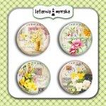 plakietki ozdobne flair buttons- kwiaty vintage #4