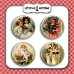 plakietki ozdobne flair buttons - Anioły