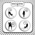 plakietki ozdobne flair buttons czarne koty