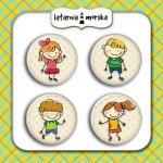 plakietki ozdobne flair buttons wesołe dzieci