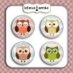 plakietki ozdobne flair buttons sówki małe sowy