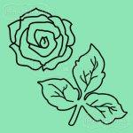 zestaw stempli gumowych róża malutka i listki
