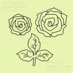 zestaw stempli gumowych róże i listki