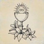 stempel gumowy Kielich z hostią i liliami Komunia