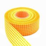szeroka wstążeczka jasnopomarańczowa w kratkę- 1mb