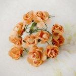 różyczki papierowe 12szt. pomarańczowe z drucikiem