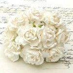 duże róże  Wild Orchid Crafts  kremowe  5 szt.