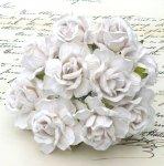 Duże róże białe pęczek 5szt.