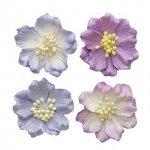 kwiatki 5 cm liliowe - papier mulberry