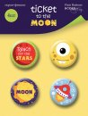 plakietki ozdobne flair buttons Ticket to the Moon
